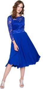Niebieska sukienka L'AF z długim rękawem midi z satyny