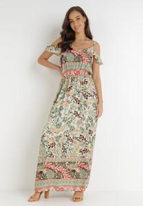 Sukienka born2be z dekoltem w kształcie litery v maxi z krótkim rękawem