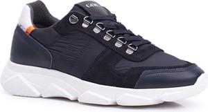 Granatowe buty sportowe Goe ze skóry
