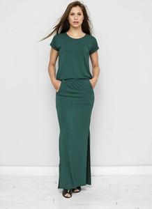 Zielona sukienka Freeshion maxi z krótkim rękawem