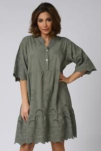 Sukienka Plus Size Company z długim rękawem w stylu casual z kołnierzykiem