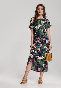 Granatowa sukienka Renee w stylu casual rozkloszowana maxi