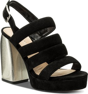 Czarne sandały Eva Minge na obcasie w stylu casual na wysokim obcasie