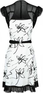 Sukienka Fokus midi z okrągłym dekoltem z tiulu