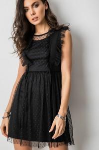 Czarna sukienka Fashion Manufacturer z tiulu bez rękawów mini
