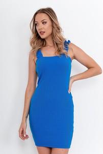 Niebieska sukienka ZOiO.pl mini z okrągłym dekoltem dopasowana