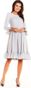 Sukienka Awama z długim rękawem rozkloszowana midi