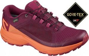 Różowe buty sportowe Salomon z płaską podeszwą z goretexu
