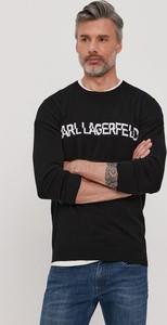 Czarny sweter Karl Lagerfeld z okrągłym dekoltem z dzianiny