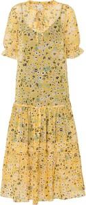 Żółta sukienka bonprix z dekoltem w kształcie litery v midi z krótkim rękawem