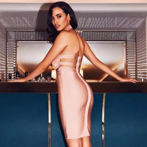Różowa sukienka Billion Ladies bandażowa bez rękawów