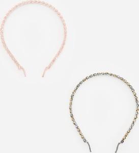 Reserved - Zestaw 2 opasek do włosów ozdobionych kryształkami - Różowy
