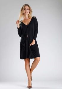 Granatowa sukienka Nommo rozkloszowana w stylu casual z bawełny