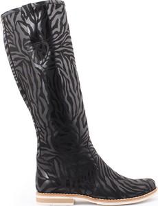 Zapato kozaki - skóra naturalna - model 127 - kolor czarny zebra