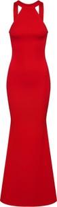Czerwona sukienka Missguided dopasowana z dekoltem halter