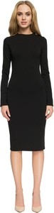 Czarna sukienka Style z długim rękawem z okrągłym dekoltem