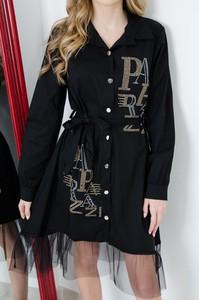 Czarna sukienka Olika koszulowa z tiulu mini