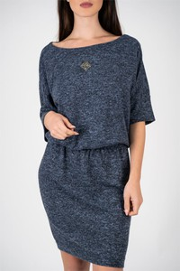 Sukienka Vertus mini z okrągłym dekoltem z długim rękawem