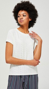 T-shirt Moodo z żakardu w młodzieżowym stylu z okrągłym dekoltem