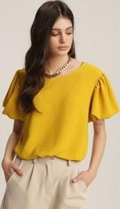 Żółta bluzka Renee z okrągłym dekoltem