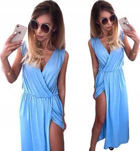 Niebieska sukienka Magmac w street stylu maxi bez rękawów