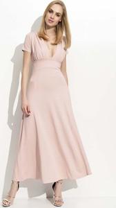 Różowa sukienka Makadamia z krótkim rękawem