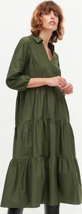 Zielona sukienka Reserved z bawełny z długim rękawem