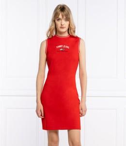 Sukienka Tommy Jeans bez rękawów z okrągłym dekoltem mini