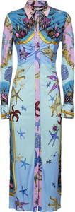 Sukienka Versace z długim rękawem koszulowa maxi