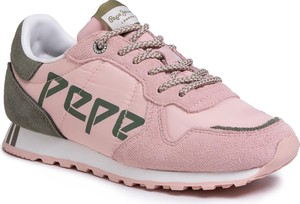 Różowe buty sportowe Pepe Jeans z zamszu sznurowane