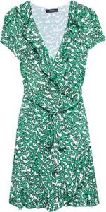 Zielona sukienka ECHO z dekoltem w kształcie litery v z tkaniny