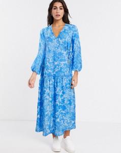 Niebieska sukienka Asos kopertowa
