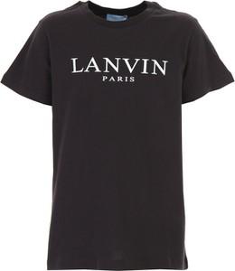 Czarna koszulka dziecięca Lanvin z krótkim rękawem