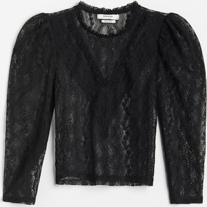 Czarna bluzka Reserved z okrągłym dekoltem