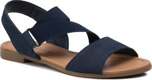 Sandały Via Ravia w stylu casual ze skóry z płaską podeszwą