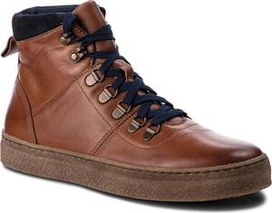 Brązowe buty zimowe Gino Rossi w stylu casual sznurowane