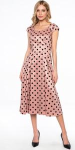 Różowa sukienka POTIS & VERSO z tkaniny z okrągłym dekoltem midi