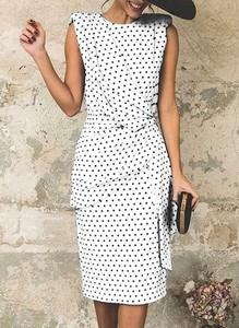 Sukienka Cikelly z okrągłym dekoltem z krótkim rękawem midi