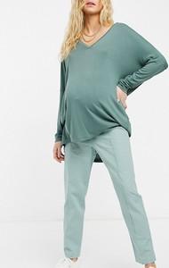 ASOS DESIGN Maternity – Zielone lniane spodnie typu cygaretki-Zielony