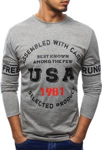 Szara koszulka z długim rękawem dstreet z długim rękawem z tkaniny