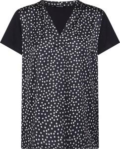 Czarna bluzka More & More z tkaniny z krótkim rękawem