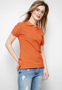 Pomarańczowa bluzka Freeshion w stylu casual z okrągłym dekoltem