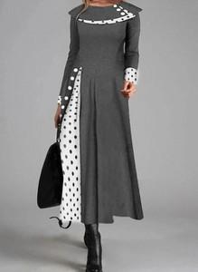 Sukienka Cikelly z okrągłym dekoltem z długim rękawem maxi