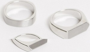 ASOS DESIGN – Zestaw kanciastych pierścionków w kolorze starego srebra-Srebrny