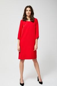Sukienka Moodo asymetryczna z długim rękawem midi