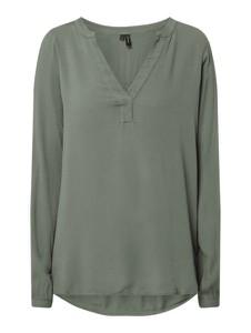 Zielona bluzka Vero Moda z dekoltem w kształcie litery v z długim rękawem