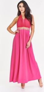 Różowa sukienka Fokus rozkloszowana maxi