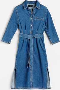 Niebieska sukienka Reserved midi z długim rękawem