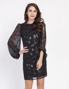 Czarna sukienka Milena Płatek z długim rękawem z okrągłym dekoltem
