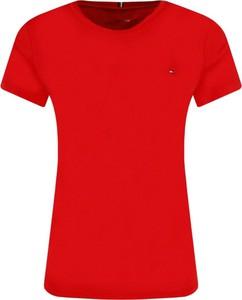 Czerwony t-shirt Tommy Hilfiger z krótkim rękawem w stylu casual